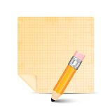 Sheet of paper and pencil Royalty Free Stock Photography