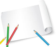 Sheet of paper and pencils. The illustration shows a clean paper roll with colored pencils. Illustration is made for the individual layers in the vector Royalty Free Stock Images