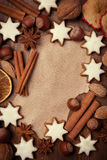Sheet of paper for recipe, Christmas cookies, nuts and spices Royalty Free Stock Images