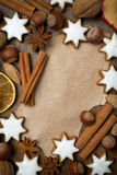 Sheet of paper for recipe, Christmas cookies and spices Royalty Free Stock Photography
