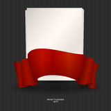 A sheet of paper with red ribbon Royalty Free Stock Images