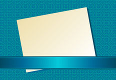 Sheet paper ribbon blue. Background with blue ribbon. Vector illustration Royalty Free Stock Image
