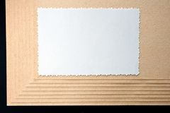 Sheet of paper and rough, textured cardboard stock illustration