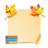 Sheet of paper and school supplies Stock Photo