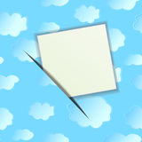 The sheet of paper on seamless a background with clouds. Vector illustration Stock Images