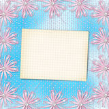 Sheet of paper on soft blue background with bows Royalty Free Stock Photography
