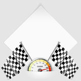 Sheet of Paper with Speedometer and Flags Royalty Free Stock Photo
