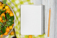 Sheet of paper surrounded by fresh fruits plums and pencil on white wooden table. A sheet of paper surrounded by a fresh fruits plums and pencil on white wooden Royalty Free Stock Images