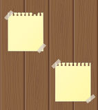 The sheet of paper on a wooden background. Vector illustration Stock Images