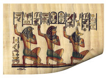 Sheet of the papyrus 2. Original sheet of the papyrus with the image of ancient gods and symbols Royalty Free Stock Photography