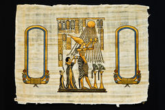 Sheet of papyrus with ancient drawings Royalty Free Stock Images