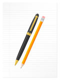 Sheet pencil and pen 2. Pen and pencil on a sheet. Vector illustration Royalty Free Stock Image
