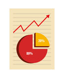 Sheet with pie graphic and red arrow Stock Photography