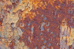 Sheet of rusty metal with cracked Stock Images
