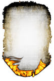 Sheet of the scorched paper and fire Stock Images