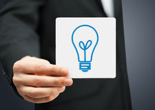 Sheet with sign of light bulb Royalty Free Stock Photos