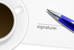 Sheet with signature, ballpoint and cup of coffee Royalty Free Stock Image