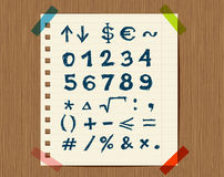 Sheet with sketch of math symbols for your design.  Stock Photography
