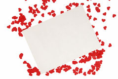 Sheet with small red hearts Royalty Free Stock Photo