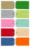 Sheet of Tags. Ten different coloured 'Tags' over a white background Stock Photos