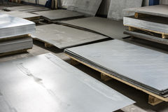 Sheet tin metal. In production hall Stock Image