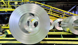 Sheet tin metal rolls. Inside of plant Stock Photography