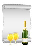 Sheet of the twisted up paper, bottle and glasses of champagne Royalty Free Stock Photography