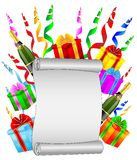 Sheet of the twisted up paper, bottles of champagne and gifts Royalty Free Stock Photos