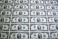 Sheet of Two Dollar Bills 4 Royalty Free Stock Image