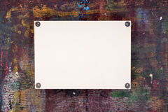 Sheet of watercolor paper pinned to wooden easel Royalty Free Stock Images