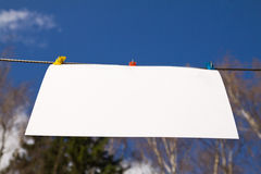Sheet of white paper. On the background of sky and treetops Stock Photography
