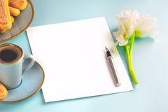 A sheet of white paper is empty on a blue background with an ink pen and a white tulip. Copy space. stock images