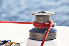 Sheet on the winch  a yacht Stock Photography