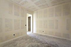 Sheetrock de un nuevo cuarto interior Imagen de archivo