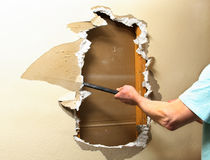 Sheetrock removal Stock Photos