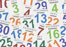 Sheets of a calendar. Background Stock Images