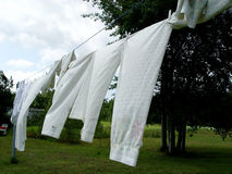 Sheets on the clothes line Royalty Free Stock Photo