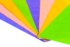Sheets of colored paper laid bright fan Stock Photography