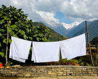 Sheets drying in the sun Royalty Free Stock Images