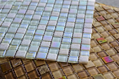 Sheets of glass tile mosaic. Close-up textute. Selective focus. Royalty Free Stock Photography