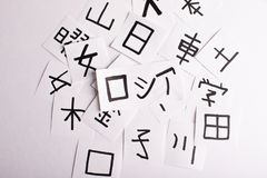 Sheets with a lot of chinese and japanese language characters kanji with main word Russia translation - man, like, eye and othe royalty free stock photo