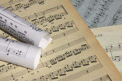 Sheets of musical symbols Stock Image