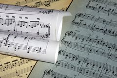 Sheets of musical symbols Stock Photography