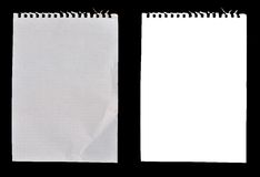 Sheets of notebook paper. Sheets of different types of notebook paper on a isolated against a black background Stock Photo