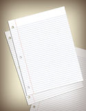 Sheets of Notebook Paper. This is three sheets of notebook paper at different angles stock photography