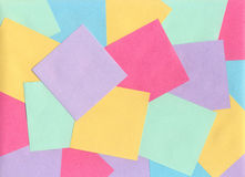 Sheets for notes. Several empty colored sheets for recording notes in the office Royalty Free Stock Photo