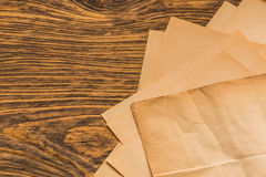 Sheets of old paper on table Royalty Free Stock Photography