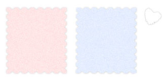 Sheets of paper. 2 sheets of grainy paper (pink, blue) and a white heart shape Stock Photos
