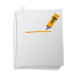 Sheets of paper with highlighter pen Royalty Free Stock Photo