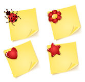 Sheets of paper with ladybug  flower heart star. Sheets of paper for notes with ladybug,  flower, with heart, with asterisk Royalty Free Stock Images